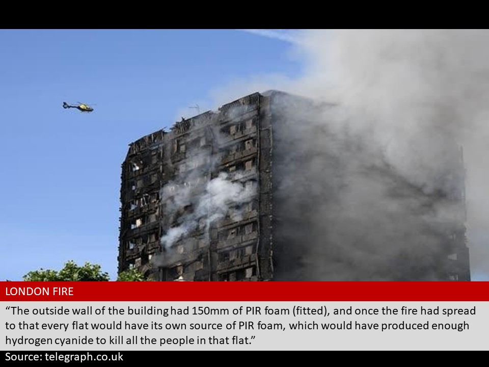 Grenfell Tower fire disaster with PIR foam