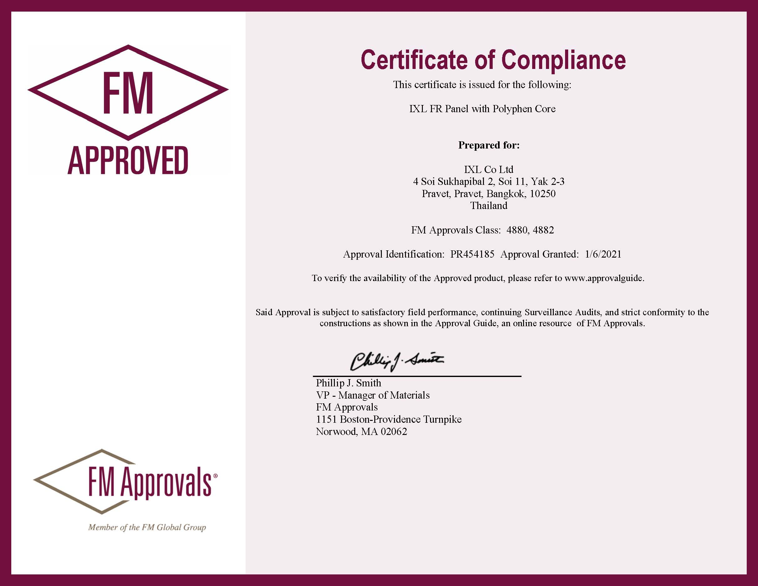 FM Approvals certificate: IXL FR Panel with Polyphen Core